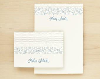 LACE Custom Stationery + Notepad Bundle - Custom Stationary Notecards Personalized - Bridal Shower Baby Shower Feminine Bachelorette Gift