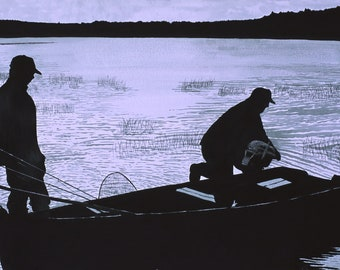 Early Morning Fishing Launch FINE ART reproduction PRINT