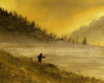 Golden Sunrise Fly Fishing FINE ART reproduction PRINT