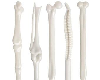 Bone Pens, Set of 5 Bone Pens, Office Supply Medical Student Dr Nurse Gift Kawaii Pens Anatomy Pens Anatomical Pens skeleton pen novelty pen