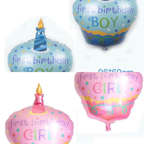 Happy Birthday Baby Balloon In Pink Or Blue 1st