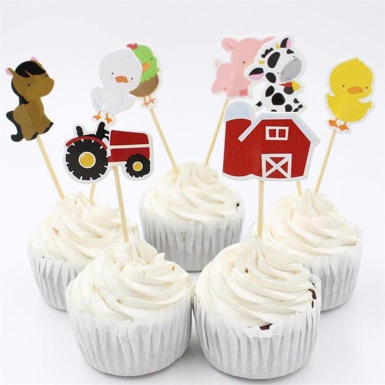 Stupendous Farm Animals Cupcake Toppers Little Boys Birthday Cake Toppers Etsy Funny Birthday Cards Online Inifofree Goldxyz