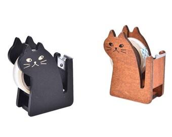Cat Tape Dispenser, Cute Kawaii Cat Tape Dispenser, Wooden Kitty Cat tape Dispenser in Black or Brown Wood, Office Desk Decor Supply