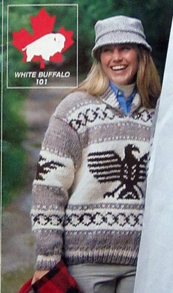 Suéter de Cowichan águila THUNDERBIRD tejer patrón adulto