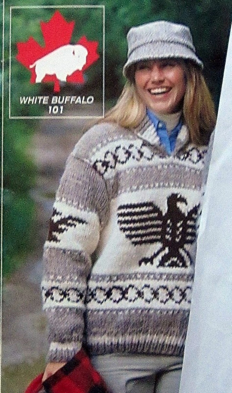 9b182d10f Cowichan EAGLE THUNDERBIRD sweater knitting pattern adult