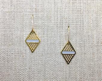 Small Geometric Delicate Diamond Laser Cut Earrings