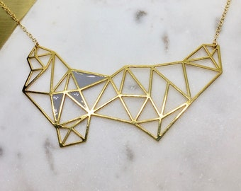 Abstract Geometric Prism Pendant Minimal Necklace Delicate Laser Cut Jewelry