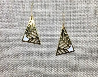 Geometric Asymmetric Triangle Laser Cut Earrings