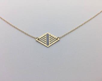 Geometric Laser Cut Diamond Necklace Delicate Minimal Jewelry