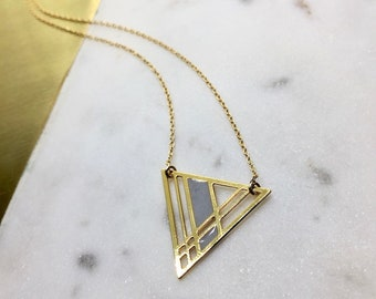 Geometric Plaid Triangle Pendant Minimal Necklace Delicate Laser Cut Jewelry