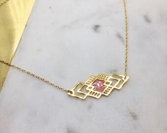 Geometric Laser cut Diamond Bar Necklace Minimal Necklace Delicate Jewelry
