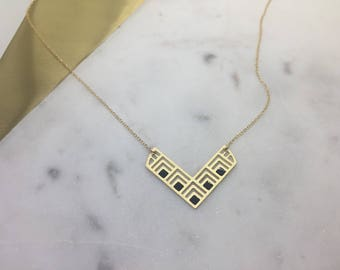 Geometric Laser Cut Patterned V Pendant Minimal Necklace Delicate Jewelry