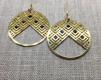 Geometric Circle Patterned Dangle Laser Cut Earrings