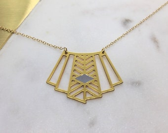 Geometric Art Deco Fan Pendant Minimal Necklace Delicate Laser Cut Jewelry