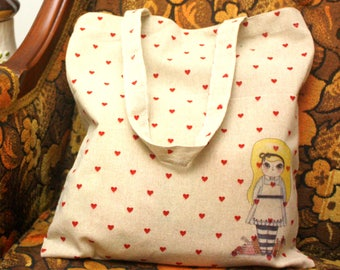 Alice in Wonderland Illustration Tote Bags (Choose White Rabbit or Alice)