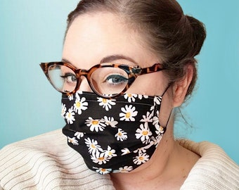 Daisy Daisy - Handmade Cotton Non-Medical Fabric Face Covering Masks with Filter Pocket - adult or kids sizing