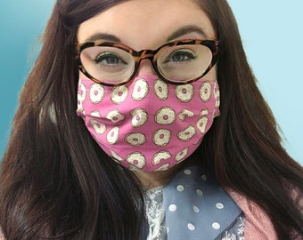 Donuts for Sprinkles - Handmade Cotton Non-Medical Fabric Face Covering Masks with Filter Pocket - adult or kids sizing