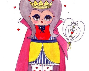 """The Queen of Hearts Illustration Print - 8.5""""x11"""" or 5""""x7"""""""