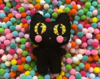 Little Cheeks Black Cat - Teeny Eco-friendly Felt Plush Kitty