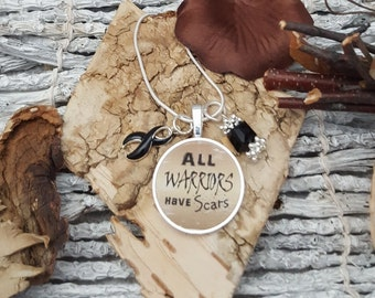 BL-2 Narcolepsy Necklace Melanoma Warrior Jewelry Gift For Her All Warriors Have Scars Skin Cancer Awareness Necklace
