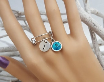 TE-6 Cervical Cancer Awareness Ovarian Cancer PCOS Jewelry Semi colon Dangle Charm Ring Semicolon Charm Gift Expandable Ring Wire Ring