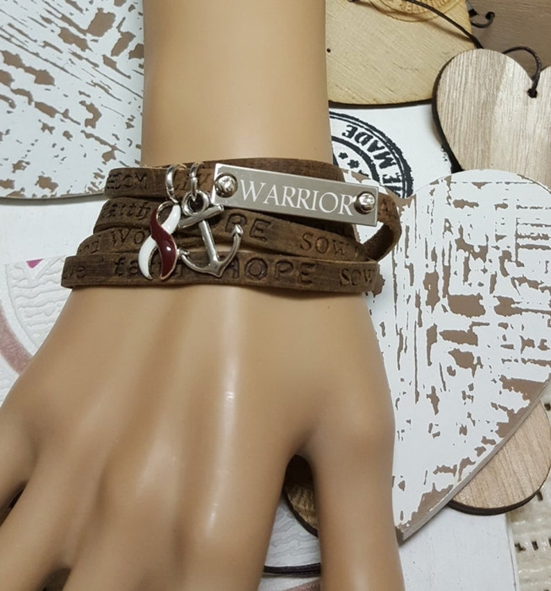 BY-4 Head & Neck Cancer Jewelry Boho Leather Bracelet For Men image 0