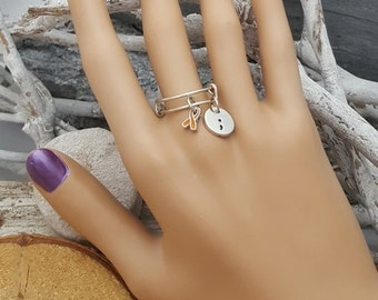 OR-6 Self Harm Awareness Jewelry Cutting Awareness Semi colon Dangle Charm Ring Semicolon Jewelry Gift Stackable Rings Expandable Ring