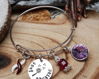 BY-4 Head & Neck Cancer Awareness Jewelry Throat Cancer Oral Cancer Bracelet Dandelion Just Breathe Birthstone Jewelry Gift For Her