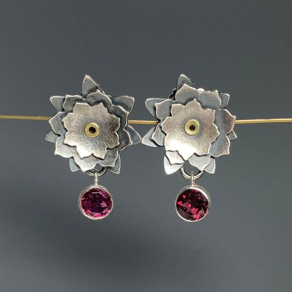 Sara Westermark Long Cluster Gemstone Earrings statement earrings sterling silver gemstone earrings