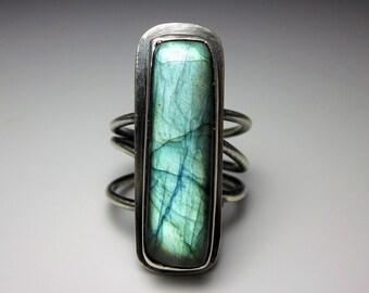 Tangled Statement Ring aqua blue teal labradorite in sterling silver wide band modern organic