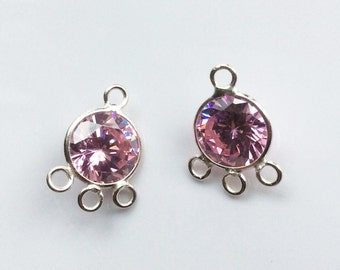 2 PCS, 10x10mm Round Faceted with 3 Loops, Sterling Silver, Pink CZ,  Cubic Zirconia, Cubic Zirconias