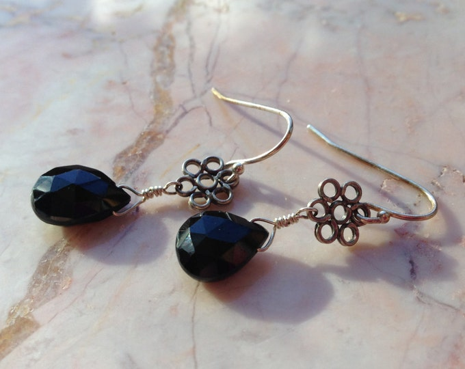 Handmade Sterling Silver Black Spinel Flower Earrings