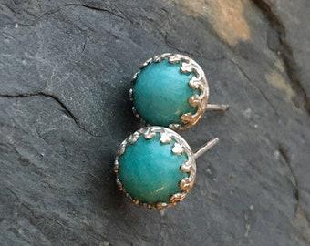 Amazonite Stud Post Earrings Healing Talisman Minimalist Simple Basic Cute Gift for Her 8mm Gift for Women Blue