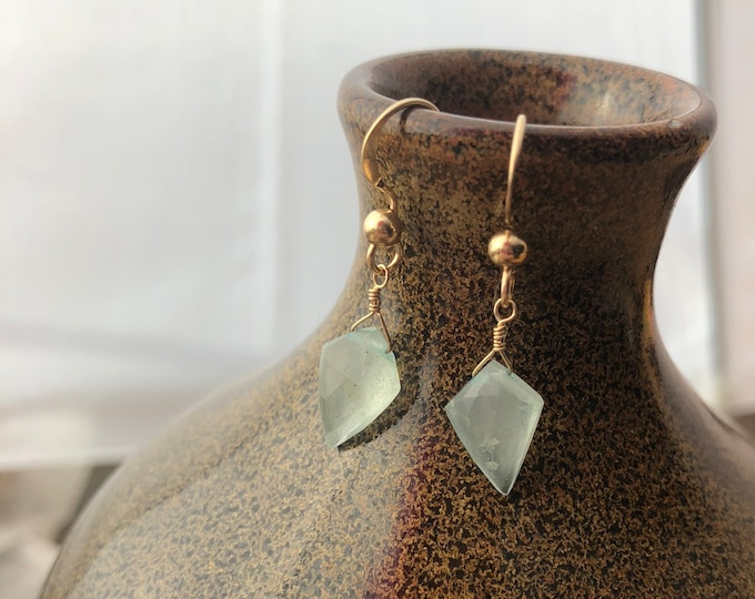 Aquamarine and Gold Filled Littles Earrings Good Luck Talisman March Birthstone