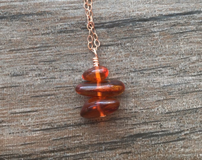 Honey Colored Amber Stone Stacked Littles Necklace in Rose Gold Healing Chakra Energy Gemstones Inspirational Gift
