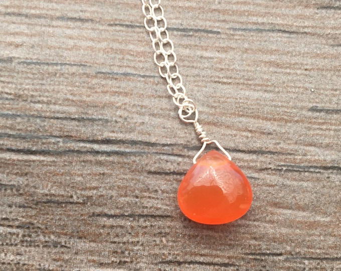 Smooth Orange Carnelian Teardrop Littles Necklace MInimalist Delicate Dainty Healing Chakra Energy Gemstones Inspirational Gift