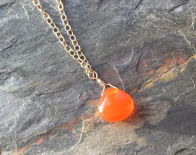 DISCOUNTED Smooth Carnelian Littles Necklace Healing Chakra Energy Gemstones Inspirational Gift
