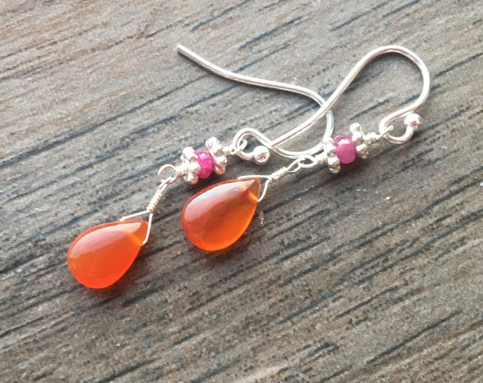 Smooth Carnelian and Smooth Ruby Dangle Earrings Simple Orange Beautiful Bridesmaid Gift Christmas Under 50