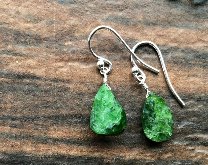 HAmmercut Green Diopside Earrings Talisman Organic Healing Chakra Gift Inspirational Good Luck .