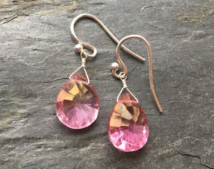 Mystic Pink Topaz Littles Earrings Good Luck Talisman Bridesmaid Prom Gift Dainty Delicate Minimalist