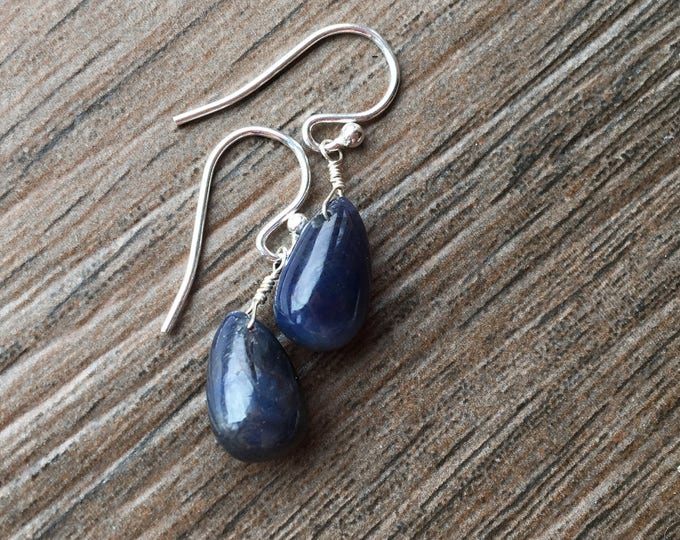 Smooth Blue Sapphire Earrings Sterling Silver Delicate, Dainty, Chic, Minimalist September Birthstone Jewelry
