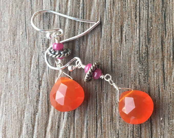 Faceted Orange Carnelian and Smooth Ruby Drop Earrings with Sterling Silver Accents