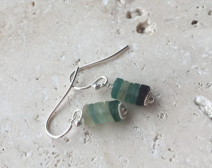 Antique Roman Glass Stacked Earrings Sterling Silver Blue Green Old Unique with Bali Silver Accents