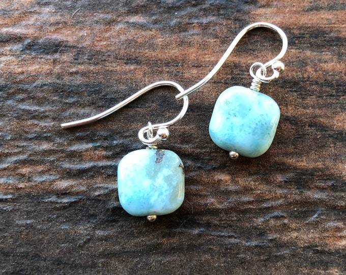 Aqua Blue Larimar Puffy Square Littles Earrings Talisman Healing Energy Small Good Luck