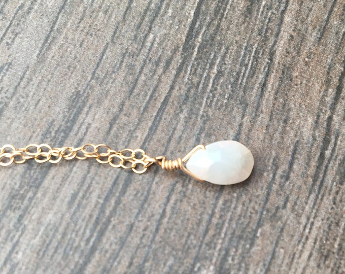 Gold Filled and Mystic Aquamarine Littles Necklace, Dainty, Moon Glow, White, Delicate, Minimalist, March Birthstone