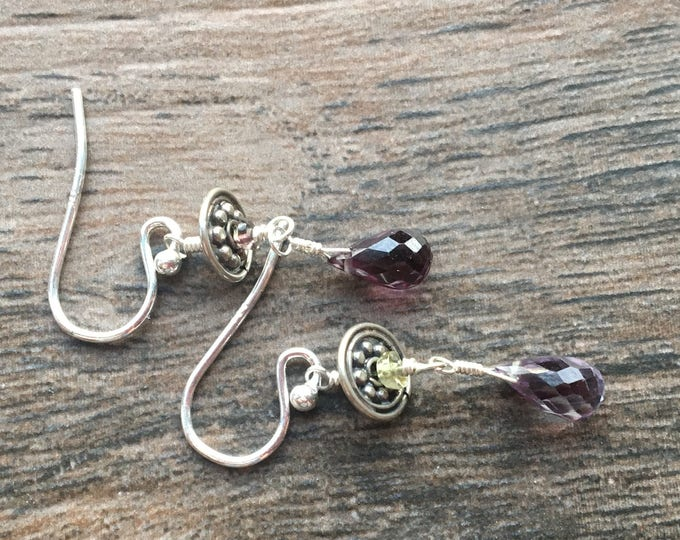 Alexandrite and Tourmaline  and Bali Silver Earrings Sterling Silver