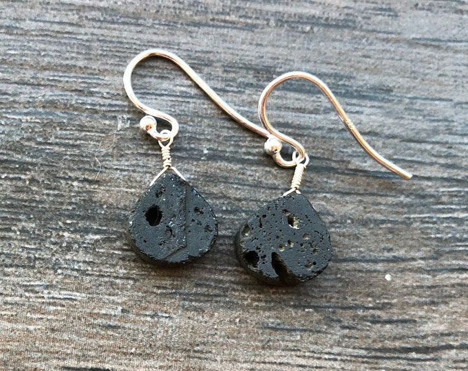 Simple Minimalist Black Lava Stone Briolette Earrings Good Luck Talisman Healing Chakra Energy Bridesmaid