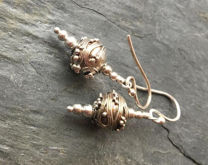 Handmade Bali Silver Ball Earrings Sterling Silver Ornate Simple basic Gift