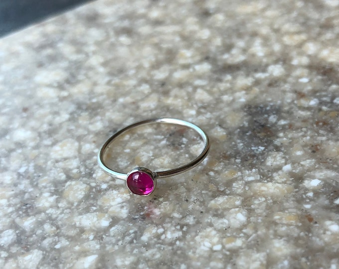 Simple Sterling Silver Smooth Ruby Stacker Ring Lab Created July Birthstone