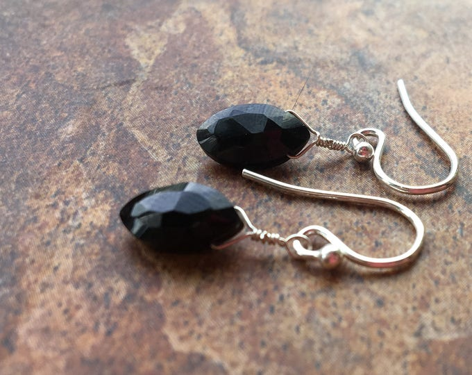 Simple Black Spinel Earrings Marquis Gift LBD Wedding